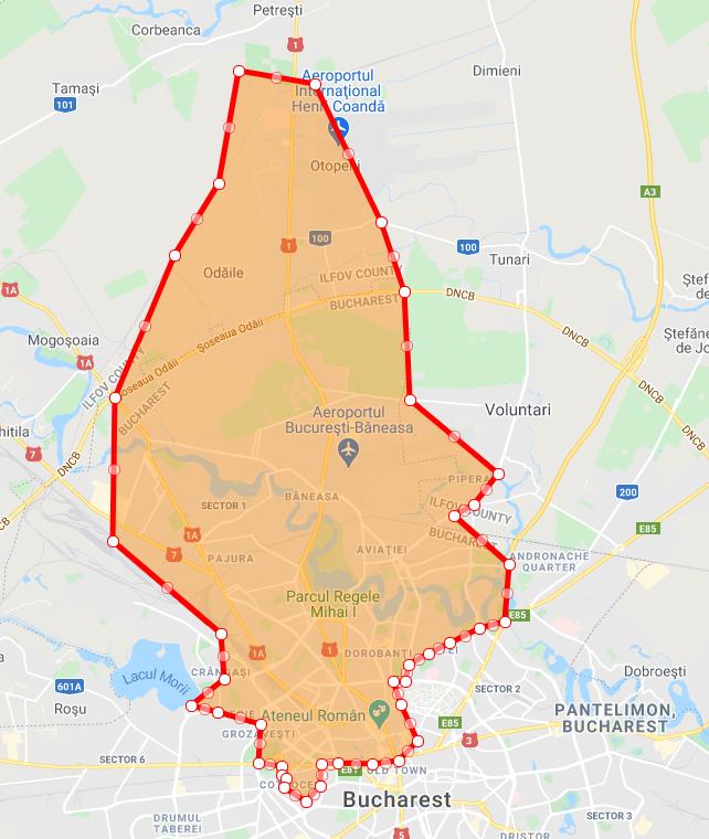 Harta cu zona de livrare harta